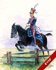 IMPERIAL FRENCH CAVALRY HORSE JUMPING FENCE PAINTING ART REAL CANVAS PRINT