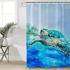 Sea Turtle Ocean Sea Blue Cartoon Modern Bathroom Waterproof Bath Shower Curtain