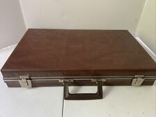 Vintage Case 48 Cassette Tape Holder Carry Briefcase Brown Very Light And Nice