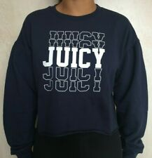 Small JUICY COUTURE Navy Cropped Jumper with White Print  RRP £38