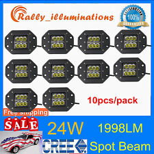 10X 24W Square CREE LED Cube Pod Work Light Flush Mount Offroad Truck Jeep SPOT