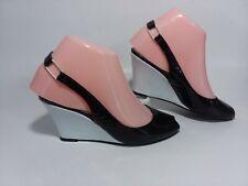 6.5 B vtg 70s black Andrew Geller peep-toe slingback wedge heels pumps shoes