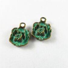 Antique Green Bronze Tone Mini Flower Shaped Jewelry Findings Charms Pendant 20x