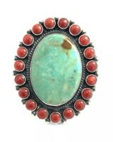 Native American Sterling Silver Navajo Turquoise With Coral Ring Size : 8.5