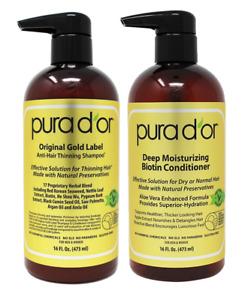 Pura D'or Original Gold Label Shampoo and Deep Moisturizing Conditioner Set 14oz