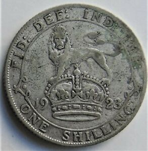 1923 GB George V One Shilling grading About FINE.