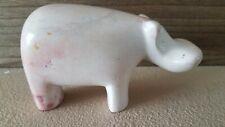 3.5� Carved Soapstone Hippopotamus Figurine Beautiful Neutral/Coral Colors .