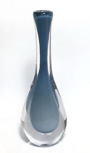 "Stylish Signed VICKE LINDSTRAND KOSTA BODA Vase Soft Blue Glass, 1950, H 11"""