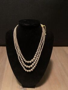 3 Strand Graduated Pearl Necklace 10k Clasp