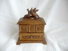 ANTIQUE BLACK FOREST CARVED JEWELRY BOX 2 BIRDS,3 COMPARTMENTS FLOWERS LEAVES