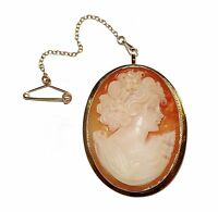 Fully Hallmarked 9ct Yellow Gold & Shell Cameo Brooch With Safety Chain