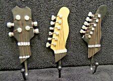 Decorative Iron Wall Hooks x3 Shaped Like Guitar Heads Black and Brown/Tan