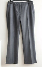 DAVID LAWRENCE Size 14 Grey Checked Wool-Blend Lined PANTS Straight Leg