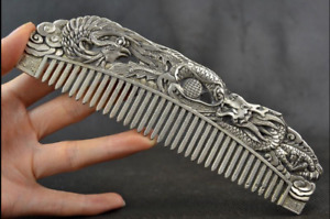 Chinese Old Decoration Collectibles Handwork Tibet Silver Carving Dragon Comb