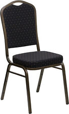 Crown Back Stacking Banquet Chair in Black Patterned Fabric w/Gold Vein Frame