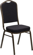 10 Pack Banquet Chair Black Patterned Fabric Restaurant Chair Crown Back Stack