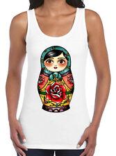 Russian Matrioshka Kitsch Doll Babushka Cute Fashion Ladies New Singlet Tank Top