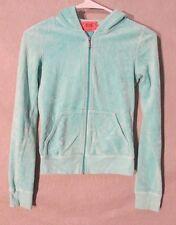 W5934 Juicy Couture Juniors Petite Mint Green Long Sleeve Velour Full Zip Hoodie
