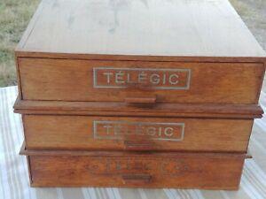 TELEGIC  - Ancienne Boîte de rangement en bois  3 tiroirs empilables  RARE