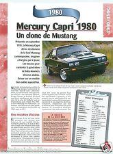 Mercury Capri 4 Cyl. Ford 1980 USA Car Auto Voiture FICHE FRANCE