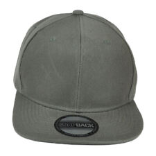 Blank Gray Constructed Flat Bill Snapback Hat Cap Plain Solid Color Adjustable