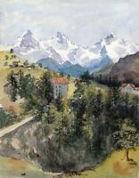 ENGELBERG SWITZERLAND MOUNTAINS Victorian Watercolour Painting c1890 ALPS