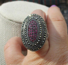 Dallas Prince Sterling Silver Ruby & Marcasite Scroll Ring  Size 7    $219.99