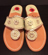 Jack Rogers Navajo Sandals Leather Flip Flop Thong Light Green Platinum 6-6.5 M