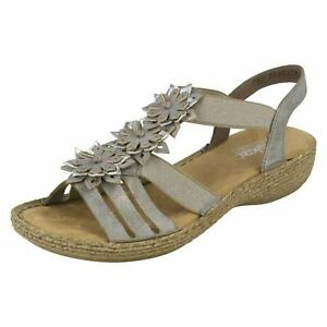 Ladies Grey Rieker Open Toe Slingback Summer Sandals 65858