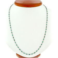 """Antique Handmade 4.90ctw Round Bezel Set Emerald by the Yard 27"""" Chain Necklace"""