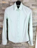 GANT ladies Size 10 Green Stripe Long Sleeve Shirt Blouse