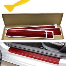 4PCS Red Car Door Step Threshold Sticker Carbon Fiber Look Scuff Resistant Decal
