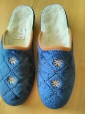 Ladies Sheepskin lined slippers size 6.5 (40) blue quilted Uppers, heels1.75ins.
