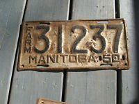 1950 50 MANITOBA CANADA CANADIAN LICENSE PLATE NICE ONE FARM AGRICULTURE