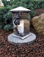 ** Grablaterne mit Granitsockel Grablampe Grableuchte Grablicht Engel Kerze