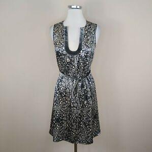 Beth Bowley Gray Floral Silk Dress Velvet Trim and Belt Size 4 Sleeveless