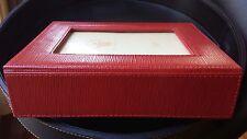 "Warwick Genuine Leather Jewelry Box 9.5x7.75x2.5"" Image Display on Lid, Burgundy"