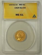 1929 US Quarter Eagle $2.50 Gold Coin ANACS MS-61