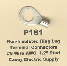 """10 Non-Insulated RING Lug Terminal Connector Uninsulated #6 Gauge Wire 1/2"""" Stud"""