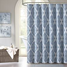 Blue Purple Gray Green Fabric Shower Curtain: Floral Geometric Damask Design