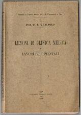 Libro Medicina Lezioni di Clinica Medica e Lavori Sperimentali G B Queirolo 1912