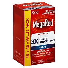 MegaRed Advanced 3X Triplo assorbimento 800mg Omega 3 supplemento, conteggio 80