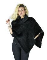 Mantella poncho nero in pelliccia di visone collo alto fur mex pelz fourrure 毛皮