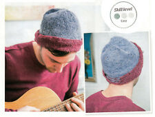 5a8bec489ca KNITTING PATTERN MEN 50cm circumference BEANIE HAT TWO-TONE EASY DK KTM M9A