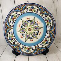 "Euro Ceramica Zanzibar Dinner Plates Spanish Floral 10 7/8"" Red Blue Yellow"