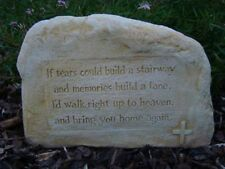 Inspirational Tears Memorial Heaven Rock Stone Concrete Garden Ornament Statue