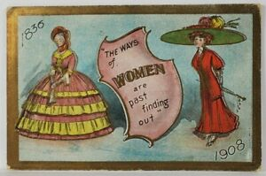 """1908 Womans Suffragette """"The Ways of Women"""" Early Style Now Modern Postcard R15"""