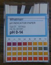 WHATMAN PH INDICATOR PAPER. PH 0-14. TYPE CF. 100 STRIPS. NEW.