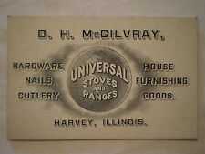 ANTIQUE 1890's D H McGILVRAY HARVEY ILLINOIS TRADE CARD HARDWARE STOVES & RANGES