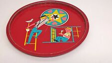 """Vintage 11""""  Red Metal Serving Tray Pennsylvania Dutch Amish Father Son"""
